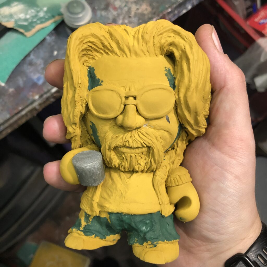 The Dude covered in yellow primer