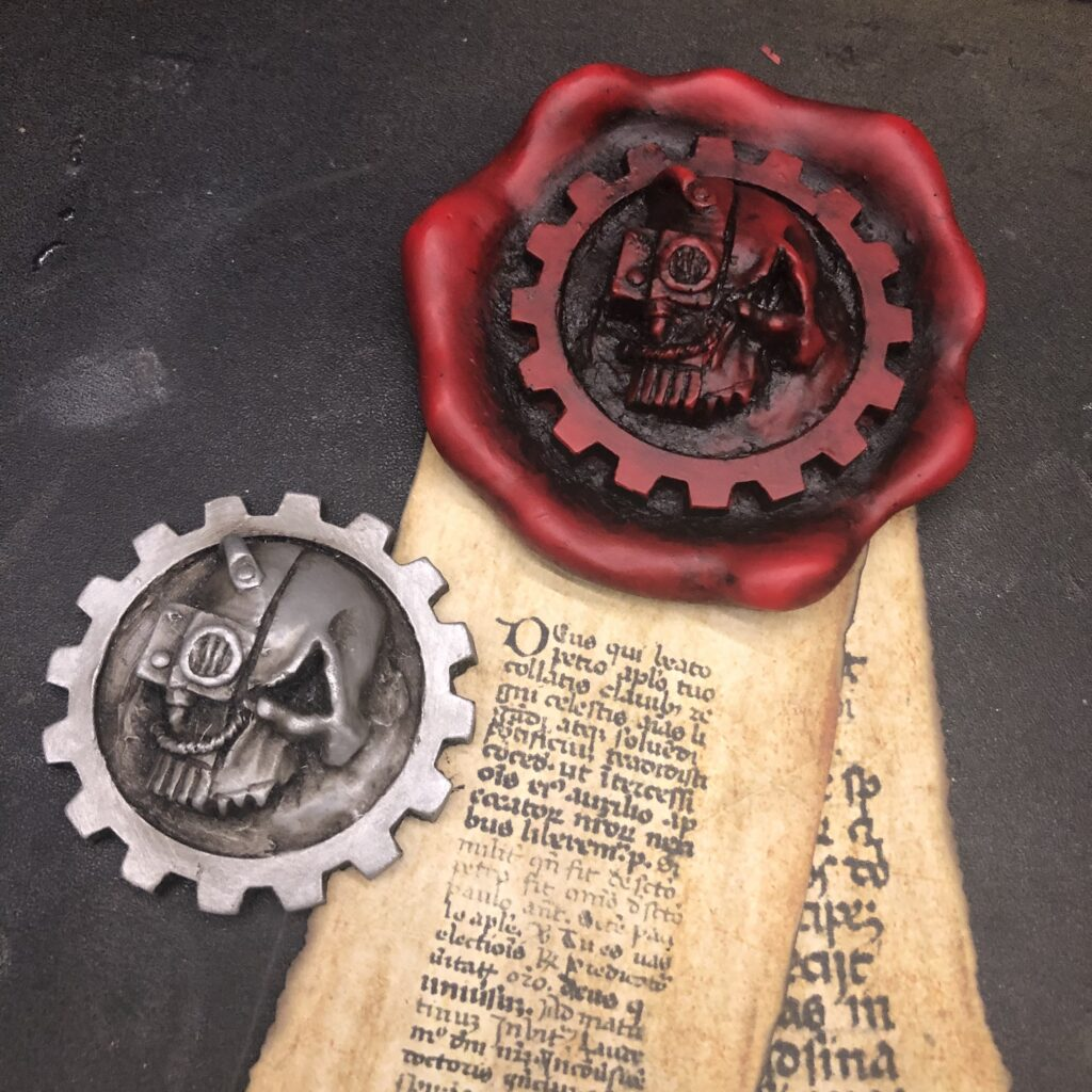 Adeptus Mechanicus badge and purity seal